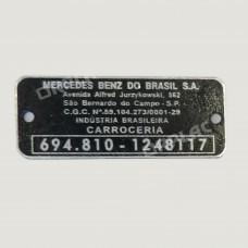PLAQUETA DE CABINE MERCEDES DE AÇO